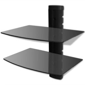 Kahe riiuliga seinalekinnitatav DVD-riiul klaasist, must