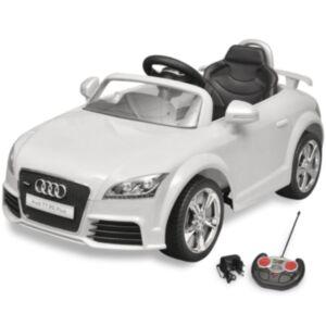 Valge Audi TT RS pealeistutav auto lastele puldiga