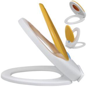 Valge ja kollane vaikse sulgemisega prill-laud
