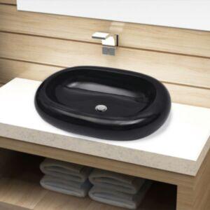 Keraamiline vannitoavalamu, ovaalne, must