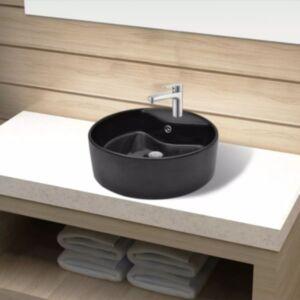 Keraamiline kraani- ja ülevoolu avaga vannitoavalamu, ümmargune, must