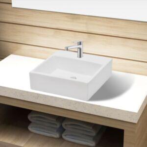 Keraamiline kraaniauguga vannitoavalamu, kandiline, valge