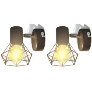 2 musta tööstuslikus stiilis sõrestikuga seinavalgustit LED-pirniga
