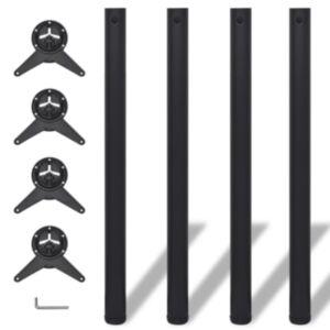 Reguleeritava kõrgusega lauajalad 4 tk, must, 870 mm