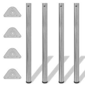 Reguleeritava kõrgusega lauajalad 4 tk, harjatud nikkel, 870 mm