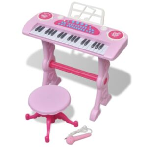 Laste mängusüntesaator tooli ja mikrofoniga, 37 klahvi, roosa