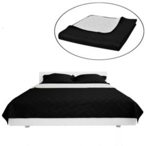 Kahepoolne tepitud voodikate must/valge 230 x 260 cm