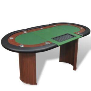 Pood24 pokkerilaud 10 mängijale diileriala ja žetoonialusega, roheline