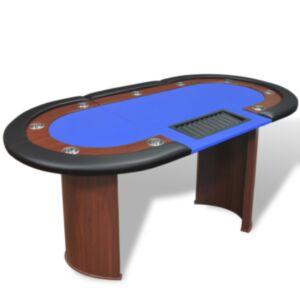 Pood24 pokkerilaud 10 mängijale diileriala ja žetoonialusega, sinine