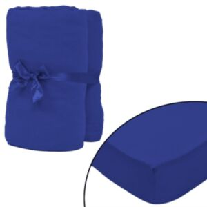 Pood24i kummiga voodilina 2 tk puuvillane 160 g/m² 140 x 200 - 160 x 200 cm sinine