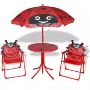Pood24 3-osaline laste aiamööblikomplekt päevavarjuga, punane