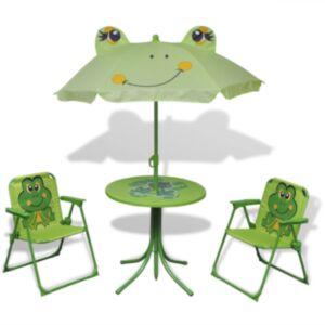 Pood24 3-osaline laste aiamööblikomplekt päevavarjuga, roheline
