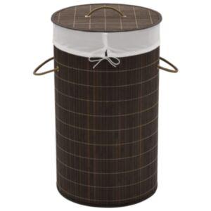 Pood24 bambusest ümmargune pesukorv, tumepruun