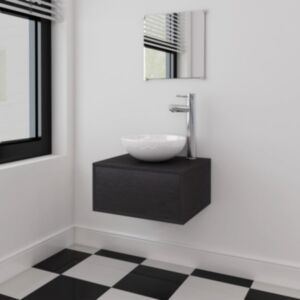 Pood24-i kolmeosaline vannitoa mööbli- ja valamukomplekt must