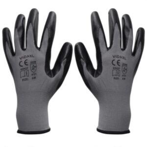 Pood24i töökindad 24 paari, hall ja must, suurus 10/XL