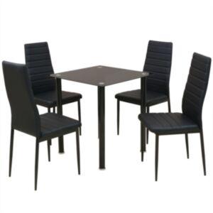 Pood24i viieosaline söögilaua ja tooli komplekt must