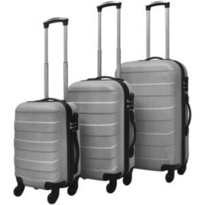 Pood24i kolmeosaline kõvakattega kohvrite komplekt hõbedane