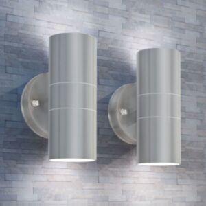 Pood24i LED-valgustid õue 2 tk, roostevaba teras, üles/alla suunatud