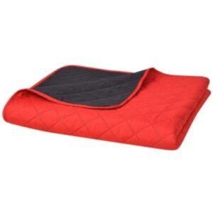 Pood24i kahepoolne tepitud voodikate punane ja must 220 x 240 cm
