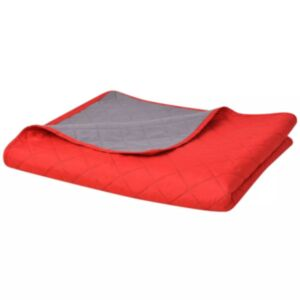 Pood24i kahepoolne tepitud voodikate punane ja hall 170 x 210 cm