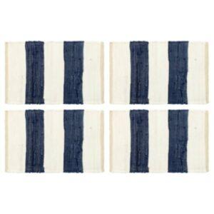 Pood24 lauamatid 4 tk Chindi triip, sinine ja valge 30 x 45 cm