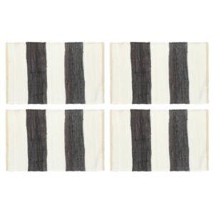 Pood24 lauamatid 4 tk Chindi triip, antratsiithall ja valge 30 x 45 cm