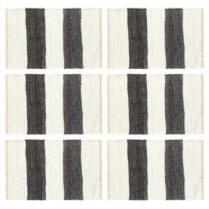 Pood24 lauamatid 6 tk Chindi triip, antratsiithall ja valge 30 x 45 cm