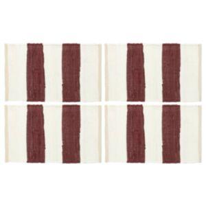 Pood24 lauamatid 4 tk Chindi triip, burgundiapunane ja valge 30x45 cm