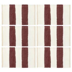 Pood24 lauamatid 6 tk Chindi triip, burgundiapunane ja valge 30x45 cm