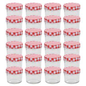 Pood24 valgete ja punaste kaantega klaasist moosipurgid 24 tk 110 ml