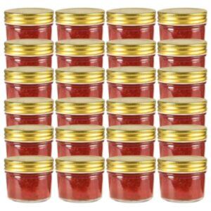 Pood24 kuldsete kaantega klaasist moosipurgid 24 tk, 110 ml