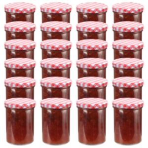 Pood24 klaasist moosipurgid valge ja punase kaanega 24 tk, 400 ml