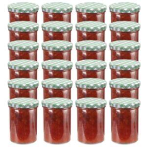 Pood24 klaasist moosipurgid valge ja rohelise kaanega 24 tk, 400 ml