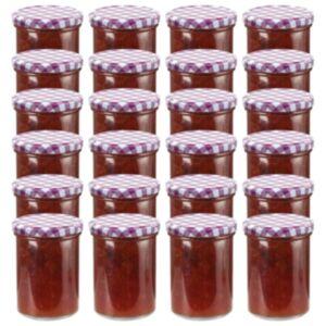 Pood24 klaasist moosipurgid valge ja lilla kaanega 24 tk, 400 ml