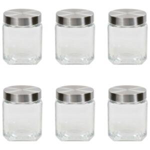 Pood24 klaasist säilituspurgid, hõbedane kaas, 6 tk, 1200 ml