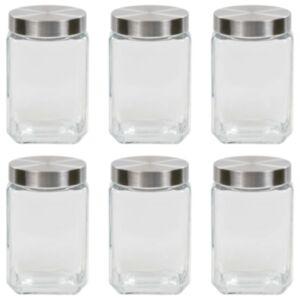 Pood24 klaasist säilituspurgid, hõbedane kaas, 6 tk, 1700 ml