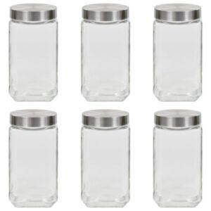 Pood24 klaasist säilituspurgid, hõbedane kaas, 6 tk, 2100 ml