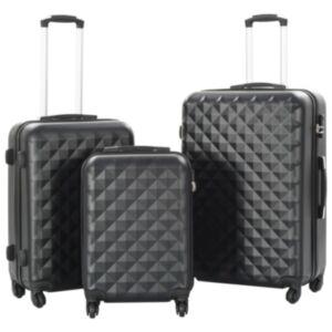 Pood24 kõvakattega kohver 3 tk must ABS