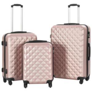 Pood24 kõvakattega kohver 3 tk roosakaskuldne ABS