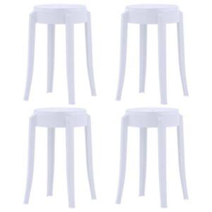 Pood24 virnastatavad taburetid 4 tk, valge, plast