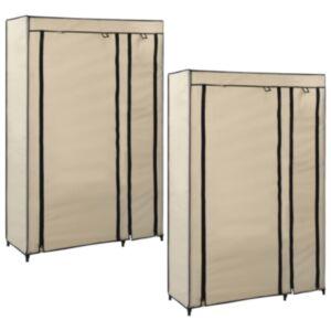 Pood24 kokkupandavad riidekapid 2 tk, kreemjas, 110x45x175 cm, kangas