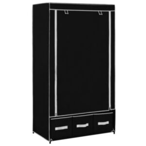 Pood24 garderoob, must, 87 x 49 x 159 cm, kangas