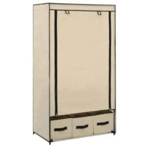 Pood24 garderoob, kreemjasvalge, 87 x 49 x 159 cm, kangas