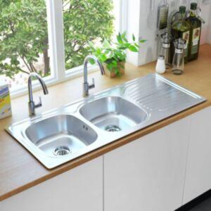 Pood24 kahekordne köögivalamu sõela ja haisulukuga, roostevaba teras