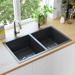 Pood24 käsitsi valmistatud köögivalamu sõelaga, must, roostevaba teras