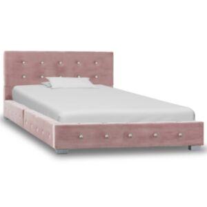 Pood24 voodiraam, roosa, sametist, 90 x 200 cm