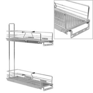 Pood24 2 riiuliga väljatõmmatav köögi traatkorv hõbedane 47x15x54,5 cm