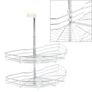 Pood24 2 riiuliga köögi traatkorv hõbedane 180 kraadi 75 x 38 x 80 cm