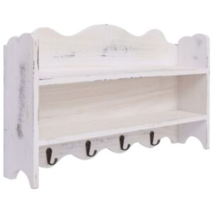 Pood24 seinale kinnitatav riidenagi, valge, 50 x 10 x 30 cm, puidust