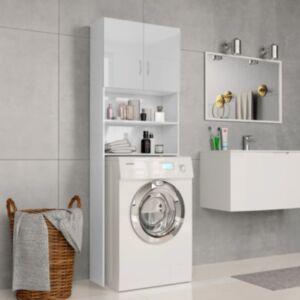 Pood24 pesumasinakapp, läikiv valge 64 x 25,5 x 190 cm, puitlaastplaat